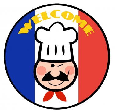 Winking Chef Face On A Welcome French Flag Circle