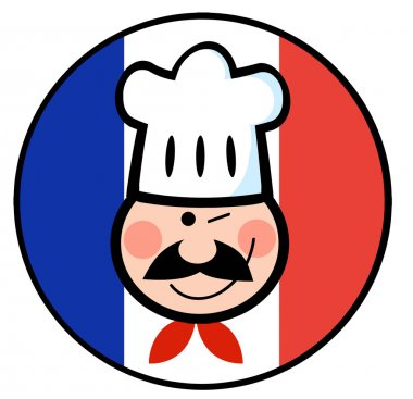 Winking Chef Face On A French Flag Circle