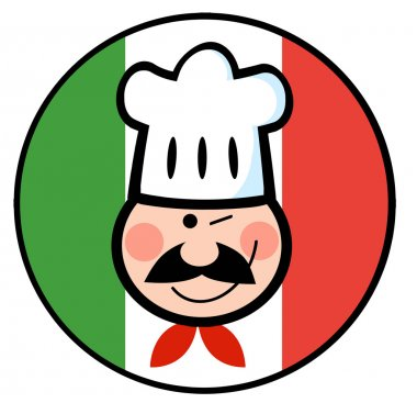 Chef Face Over An Italian Flag Circle