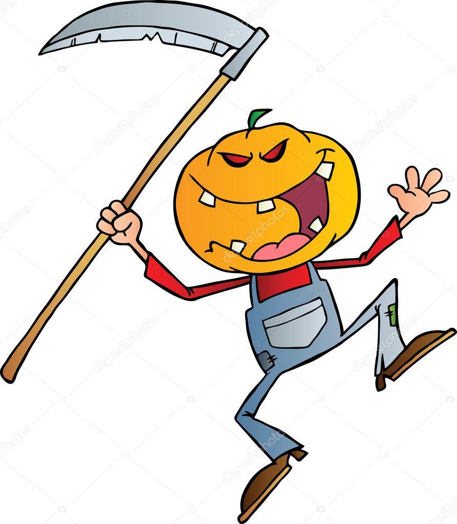 Jack t te de citrouille d 39 halloween avec une faux photographie hittoon 8244184 - Tete de citrouille ...