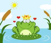 Fotografia incoronato rana principe su una foglia in lago