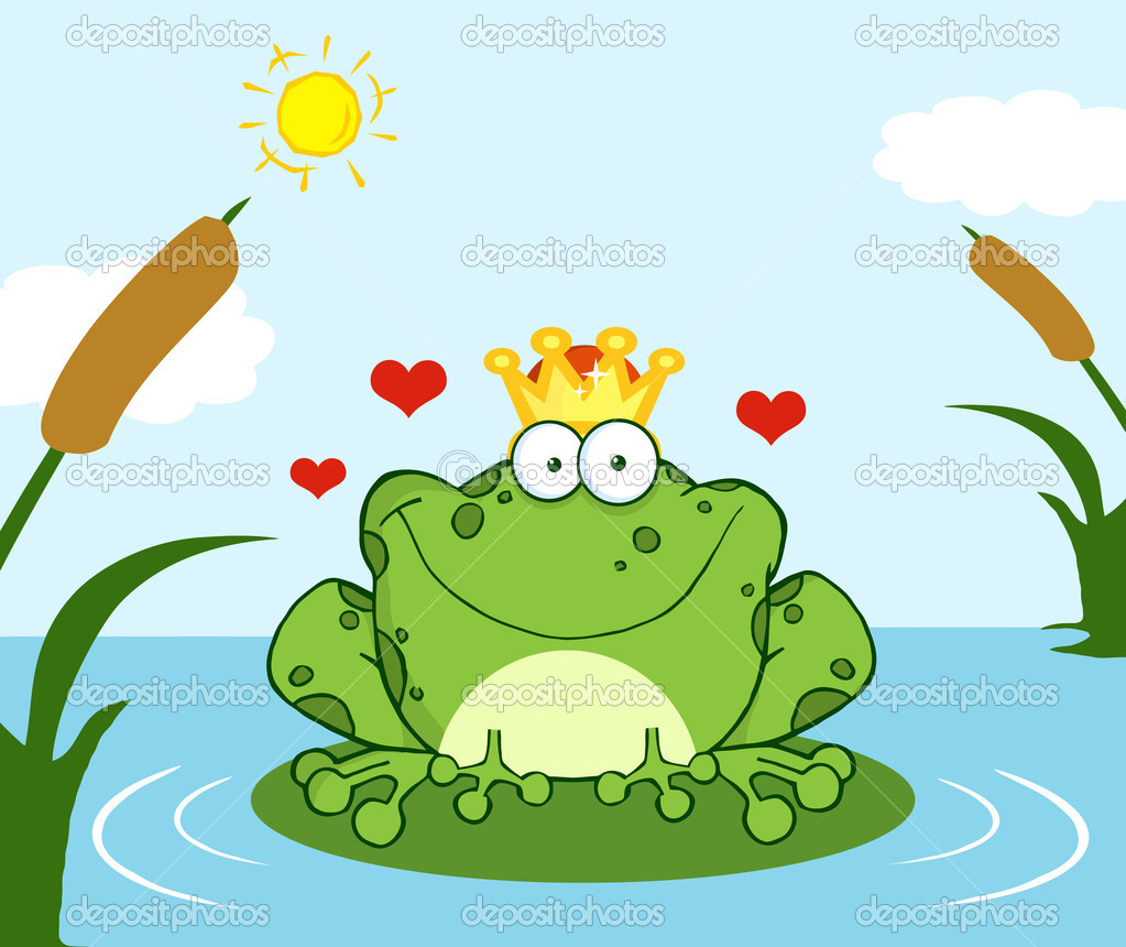 Crowned Frog Prince On A Leaf In Lake
