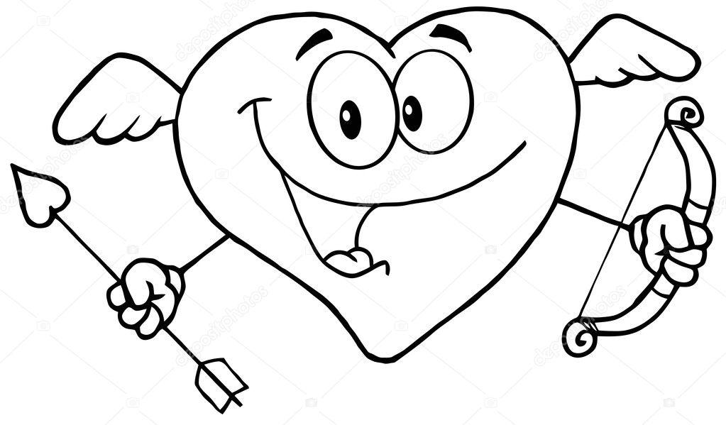 Cupido contorneado corazón contento — Foto de stock © HitToon #8678250