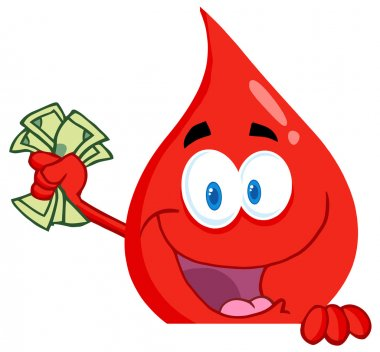 Blood Guy Waving Cash Over A Blank Sign