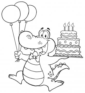 Outlined Birthday Crocodile Holding Up A Birthday Cake