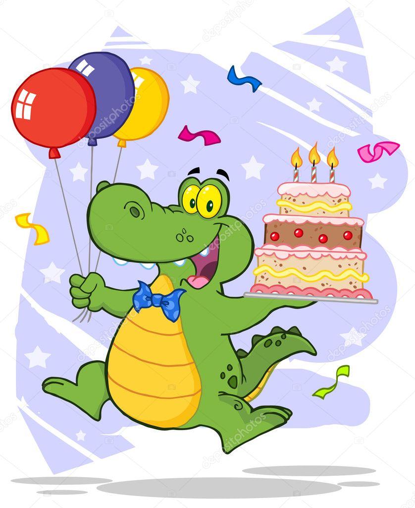 Geburtstag Alligator halten eine Geburtstagstorte — Stockfoto ...