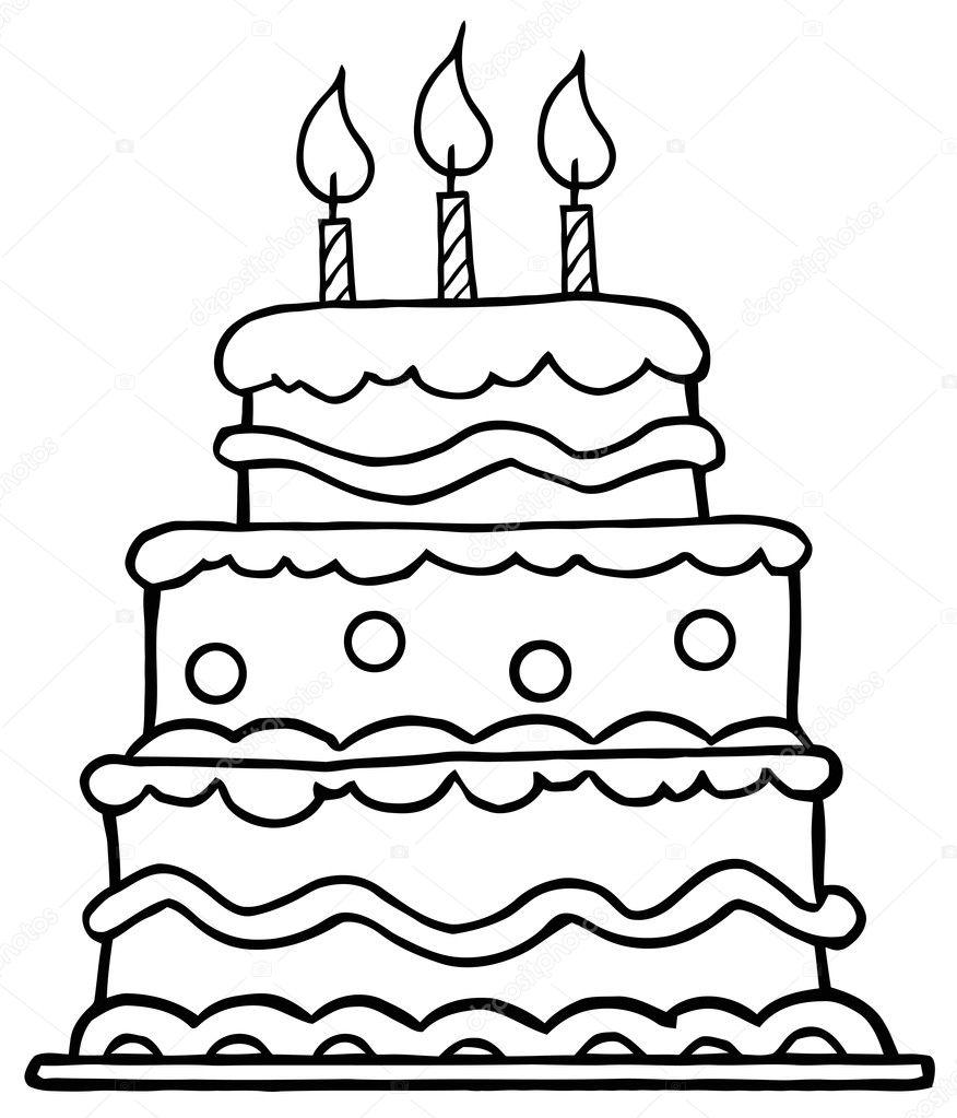 pastel de cumpleaños contorneado con tres velas — Fotos de Stock ...