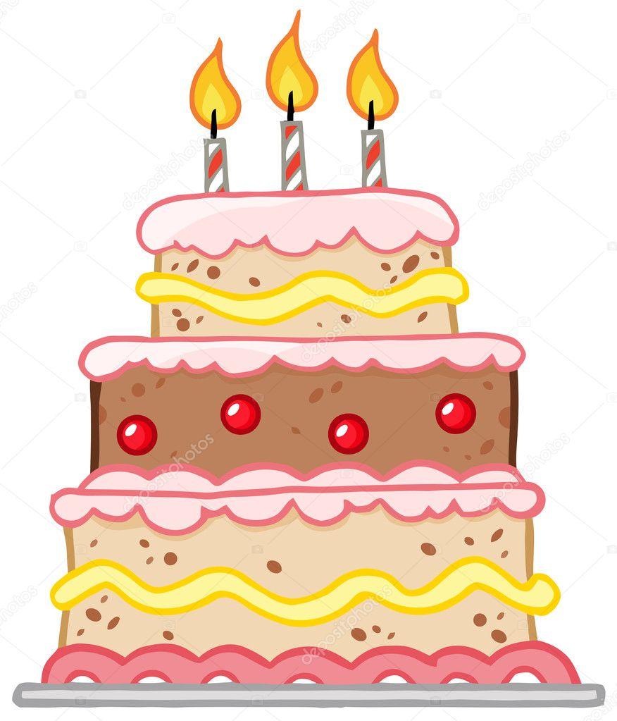 pastel de cumpleaños con tres velas — Fotos de Stock © HitToon #8967017