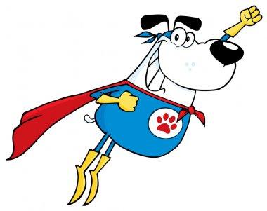 White Super Hero Dog Flying