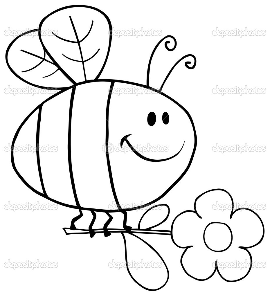 Outlined Bee Flying With Flower In Sky