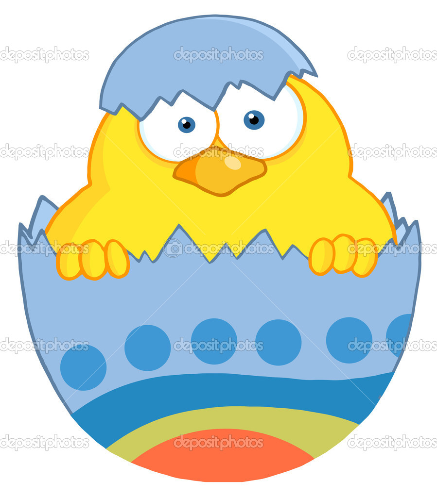 Yellow Easter Chick In A Blue Shell