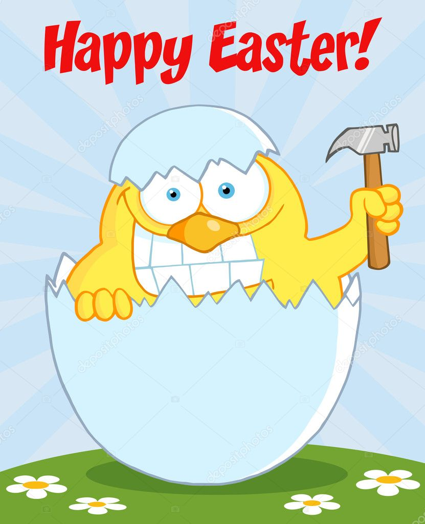 Happy Easter Chick Holding A Hammer In A Shell On A Hill