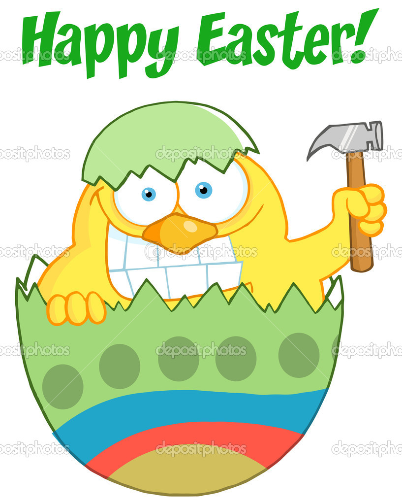 Happy Easter Chick Holding A Hammer In A Green Shell