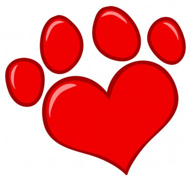 Red Heart Shaped Dog Paw Print stock vector