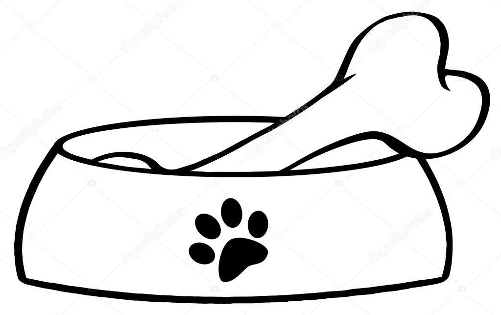 Dibujos: huesos para perros | hueso en un plato de tazón de fuente ...