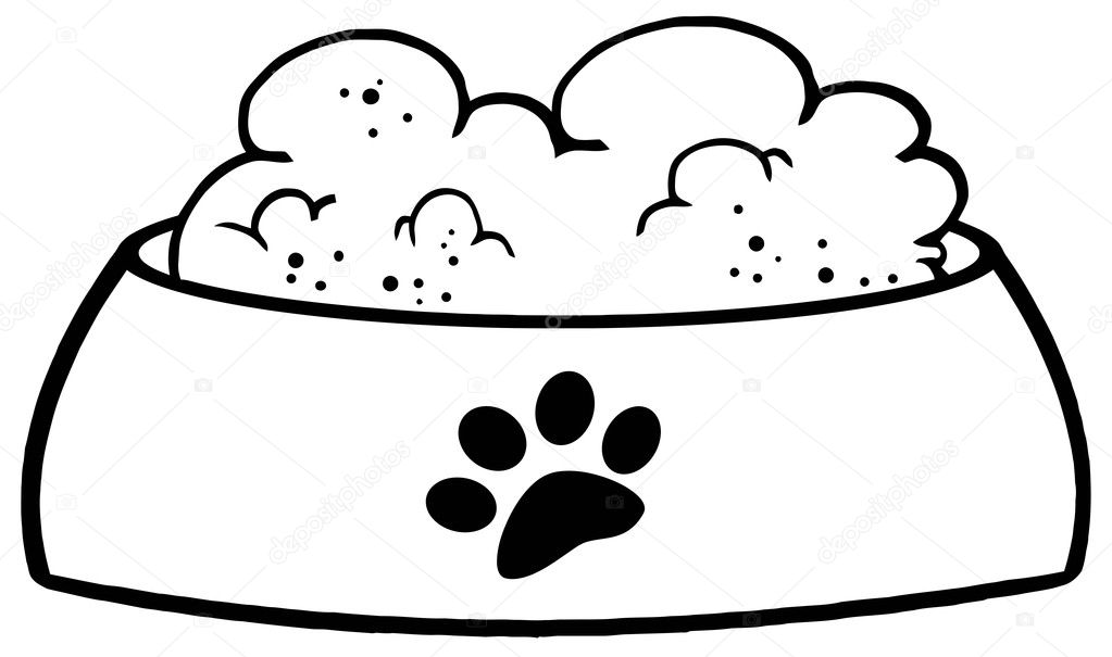 Dibujos: plato de perro para colorear | contorneado plato de perro ...