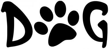 Dog Text With Black Paw Print