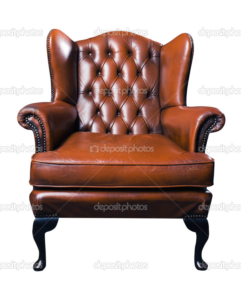 Old Leather Armchair On A White Background Stock Photo 10549625