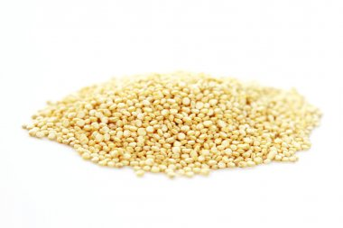 Quinoa on white background