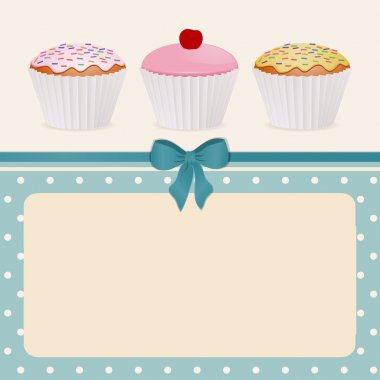 Cupcakes on blue polka dot background