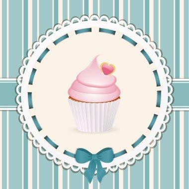 Vintage cupcake background blue