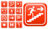 Fotografie Set of red emergency fire safety signs
