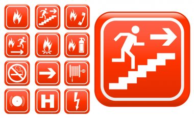 Set of red emergency fire safety signs