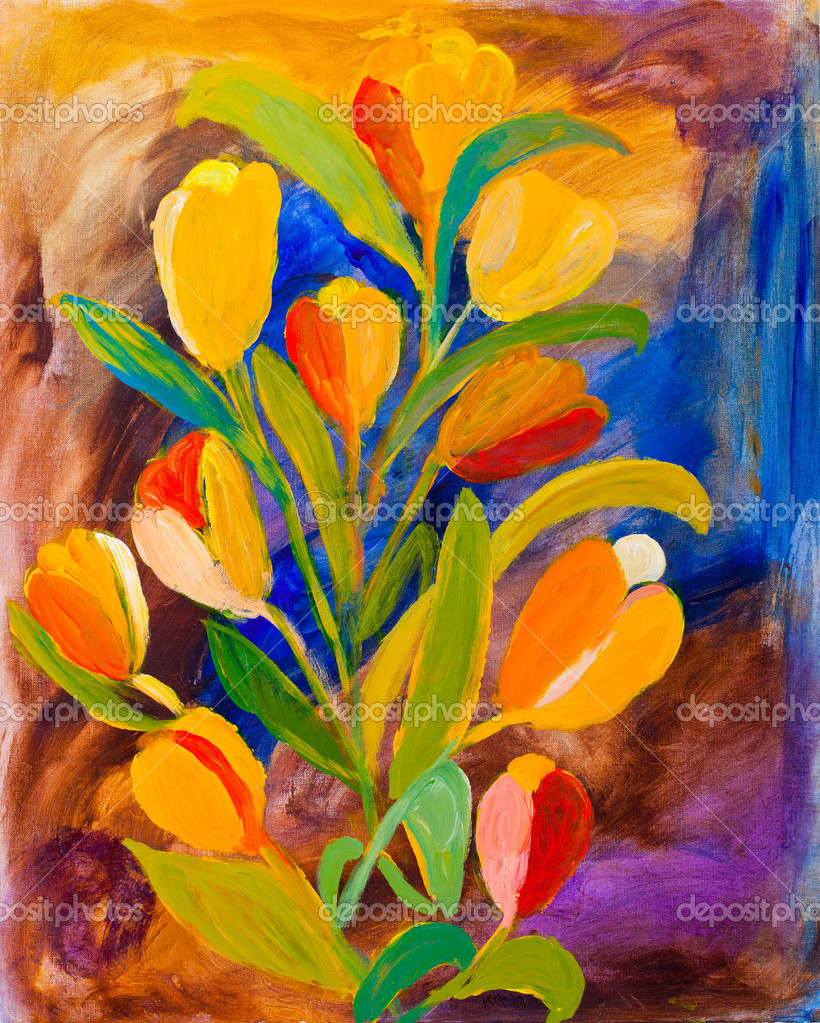 Tulips painting in acrylic by Kay Gale