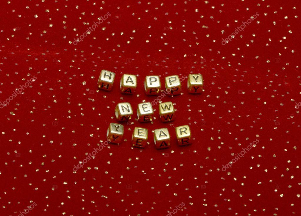 Frase Feliz Ano Novo De Grânulos Em Um Veludo Vermelho Com