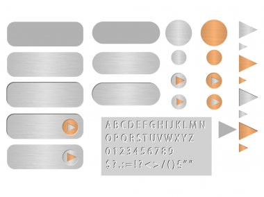 Vector buttons polished steel