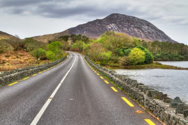 Irish road with mountain view