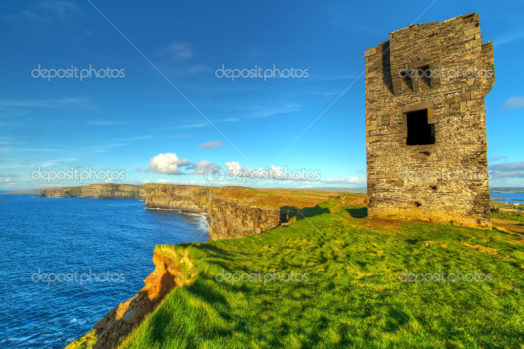 Ruins of old castle on Cliffs of Moher