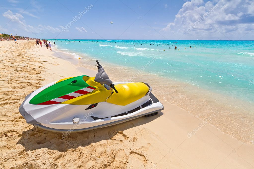 Jet ski on the Caribbean beach