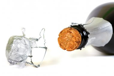Bottle of champagne with cork
