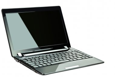 Black netbook isolated on white