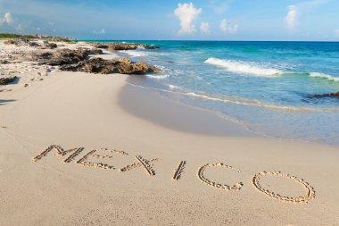 Mexico sign on the beach