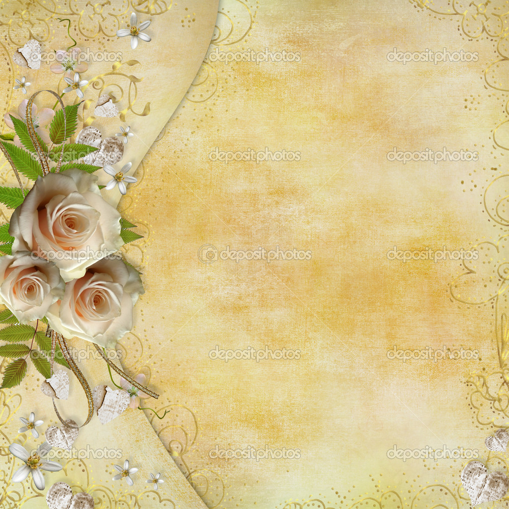 Greeting golden card with beautiful roses, paper hearts, ribbon