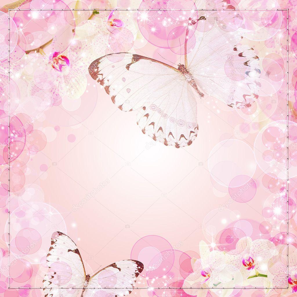 Foto Decorazione Fiori Rosa E Farfalline Farfalle E Orchidee