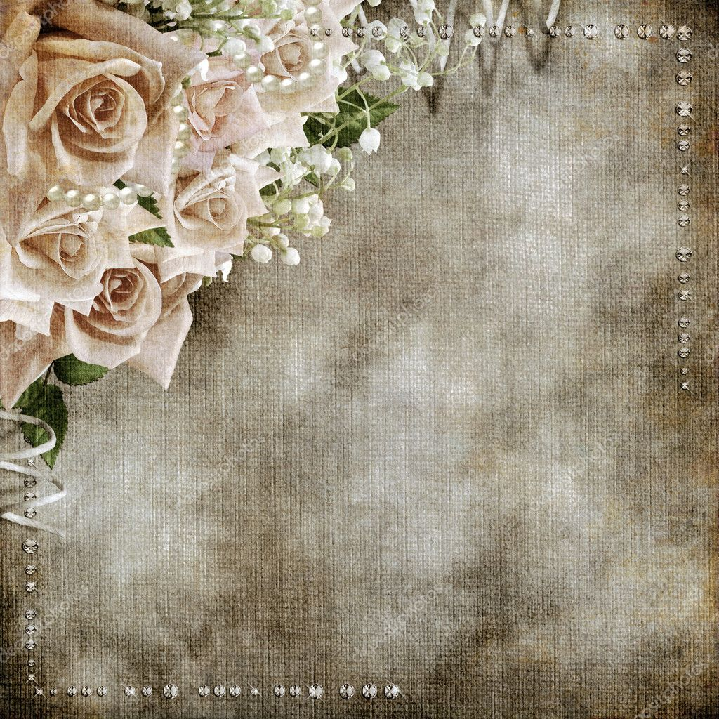 Wedding Vintage Romantic Background With Roses Stock Photo