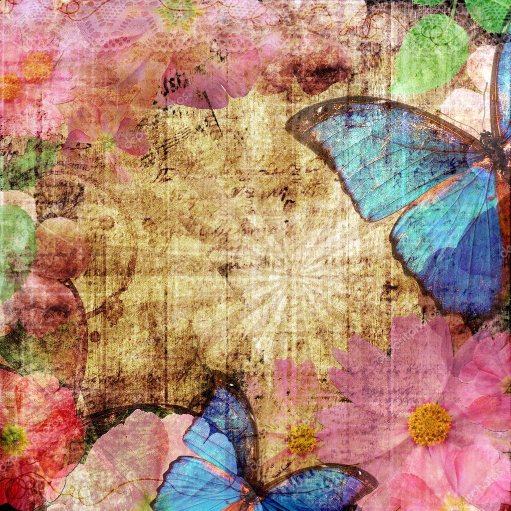 Vintage background with butterfly and flowers