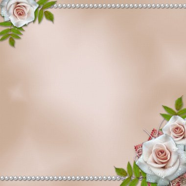 Vintage background with roses and pearls