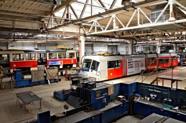 Trams in workshops in Depot Hostivar, Prague