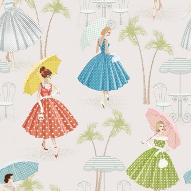 Seamless pattern with women dressed in polka dots garments walking with parasols clip art vector