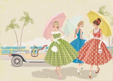 Three elegant women with parasols dressed in polka dots dresses walking near beach clip art vector