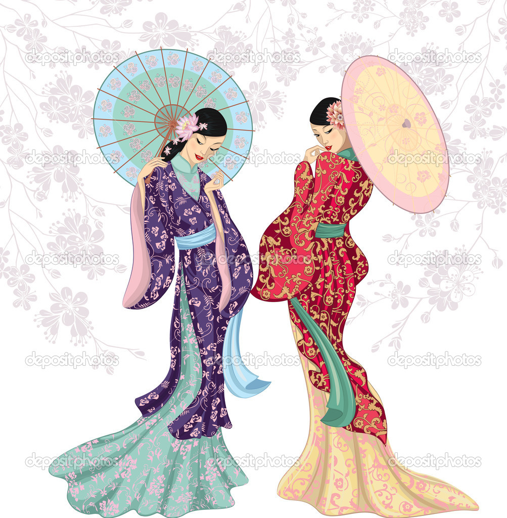 Chinese beauties with umbrellas
