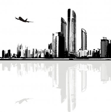 Black and white panorama of city buildings