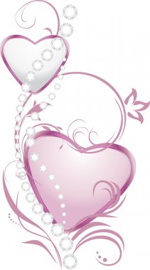 Shining silver and pink hearts with diamonds