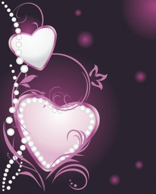 Shining silver and pink hearts with diamonds on the decorative background