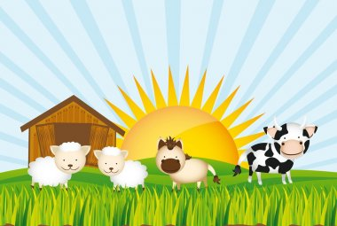 Farm with cow, horse and sheeps over grass. vector illustration stock vector