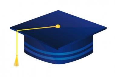 Blue graduate hat isolated over white background. vector illustration clip art vector